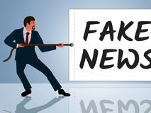 Fake News Message Being Pulled 3d Illustration Stock Image