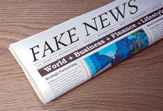 Fake News Newspaper. On desk in the Office Stock Photos