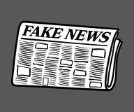 Fake News newspaper, white filled and isolated on background Stock Photos