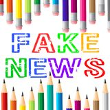 Fake News Pencils Means Hoax 3d Illustration stock illustration