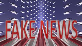 Fake news in red letters with a silver border against an American flag background Stock Photos