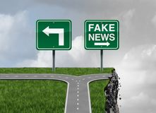 Fake News Risk. And alternative facts danger concept as a crossroad path with truth and false direction traffic sign leading to a broken cliff as a media or Stock Photos