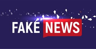 Fake News show logo template. Bubble speech news on blue background with fragments, particles. Vector Illustration. Fake News show logo template. Bubble speech Stock Image