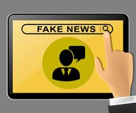Fake News Tablet Computer Message Being Pushed 3d Illustration Stock Photos