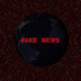 Fake News text with earth by night and red hex code illustration Stock Photography
