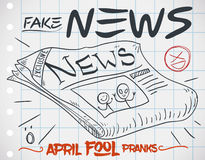 Fake Newspaper Edition for Pranks in April Fools` Day, Vector Illustration. Fake news prank with a special edition of newspaper in doodle style over notebook Royalty Free Stock Images