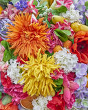 Fake orange and yellow flowers closeup Royalty Free Stock Images