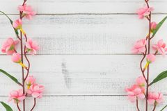 Fake pink flower branches on white wood background. With copy space Stock Photography