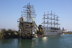 Fake pirate ships on the Manavgat River. Turkey Royalty Free Stock Photos