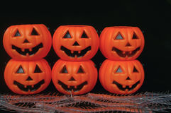 Fake pumpkins stacked on each other Stock Images