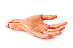 Fake severed hand isolated stock photos