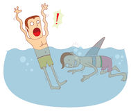 Fake shark. Illustration of a man with a fake shark fin. Available in vector eps 10 file Royalty Free Stock Photos