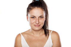 Fake smile. Natural young woman with fake smile Stock Photography