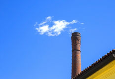 Fake smoke over the tower of the italian castle Royalty Free Stock Photos