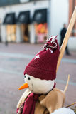 Fake snowman in a shopping street Stock Images