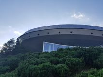 Fake spaceship. An observatory in Molėtai. It is used to explore the universe. It also looks like a space ship royalty free stock photography