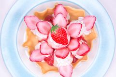 Fake Strawberry Ice cream. Top view fruit tasty dessert recipes Stock Images