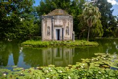 Fake temple in the gardens of the Royal Palace of Caserta royalty free stock photo