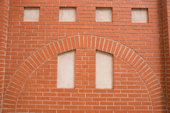 Fake window in a brick wall. For backgrounds Stock Photo