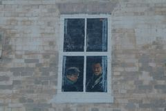Fake window painted on a wall. Stock Photos