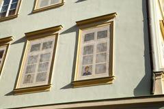 Fake windows. House in Prague royalty free stock photos