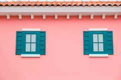 Fake windows on pink wall. Fake windows on lovely pink wall Royalty Free Stock Images
