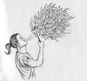 Fakir - pencil sketch. Fakir performing fire show. Pencil drawing, sketch Royalty Free Stock Images