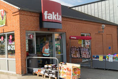 Fakta retail store. Fakta is one of the biggest grocery retailers in Denmark with more than 300 retail stores. Fakta is part of Coop. This store is placed in Hj Royalty Free Stock Photo