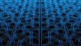 Faktisk cyberspace Digitala data för blå verklighet på svart Arkivfoton