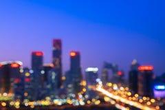 Faktisk fokus som tänder landskap av CBD-byggnadskomplexet i Peking, Kina arkivbild