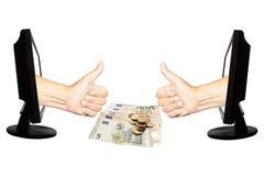 Faktisk internetaffärsidé 10 för nummer ett - team arbetsframgång på vit bakgrund med pengar - Arkivfoto