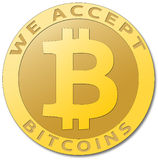 Faktisk valuta för guld- bitcoin Arkivbild