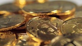 Faktiska mynt Bitcoins Toppen makrosikt stock video