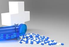 faktiskt medicinskt symbol 3d med kapselpreventivpillerar Royaltyfri Foto