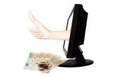 Faktiskt nummer ett - internetaffärsidéen - team arbetsframgång med pengar Royaltyfria Bilder