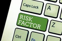 Faktor för risk för handskrifttexthandstil Begreppsbetydelse något som stiger möjligheten av ett visande framkallande a royaltyfri bild