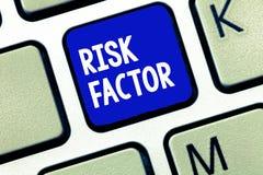 Faktor för risk för textteckenvisning Begreppsmässigt foto något som stiger möjligheten av en demonstrering framkalla en sjukdom arkivbild