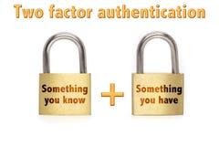 2-Faktorauthentisierung padlocks das Konzept, das auf Weiß lokalisiert wird Lizenzfreie Stockfotos