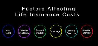 Faktoren, die Lebensversicherungs-Kosten beeinflussen lizenzfreie stockfotos