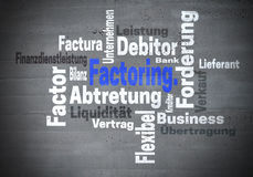 Faktors Darstellen Faktors Darstellen bei Abtretung Finanzdienstleistung (in deutscher Aufgabe F lizenzfreies stockbild