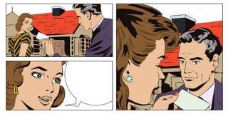 Faktorska nieruchomość z dziewczyną sprzedaży krajowej Wynajem prope Fotografia Stock