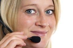 faktorskiego centrum telefonicznego zakończenia żeński życzliwy up Obrazy Stock