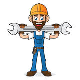 Faktotum Holding Wrench royaltyfri illustrationer