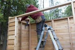 Faktotum som bygger en Cedar Storage Shed Arkivbild