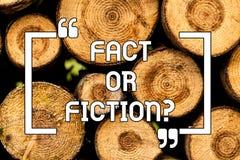 Faktum eller fiktion för textteckenvisning Det begreppsmässiga fotoet är det som är riktigt eller, är falskt tvivel, om något är  stock illustrationer