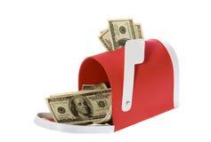 fakturerar dollaren som flödar hundra brevlåda Royaltyfri Bild