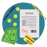 Fakturowy Bill Pieniężnego konta Opłacony Płatniczy pojęcie ilustracji