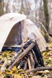 Falò e tenda di campeggio nella foresta Fotografia Stock Libera da Diritti