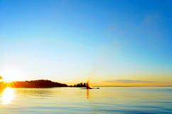 Falò nel lago Fotografia Stock Libera da Diritti