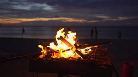 Falò in una griglia su una bella spiaggia durante il tramonto video d archivio